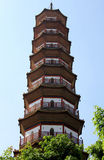 Blumen-Pagode des Tempels von sechs Banyanbäumen Stockfotos