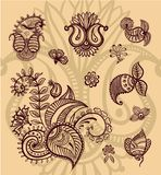 Blumen-Paisley-Designsatz Stockfotos