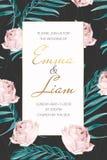 Blumen-Palmeblätter der Hochzeitseinladung rosafarbene Stockfoto