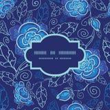 Blumen-Rahmens des Vektors nahtloses Muster des blauen Nacht Lizenzfreie Stockfotografie
