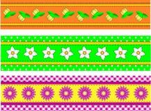 Blumen-Ränder des VektorEPS10 drei mit Punkten, Gingh Stockfotos