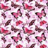 Blumen, Schmetterlinge, handgeschriebene Textbuchstaben watercolor Nahtloses Muster Stockfoto