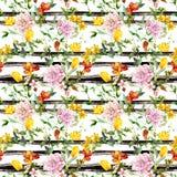 Blumen am schwarz-weißen gestreiften Hintergrund Wiederholen des Blumenhintergrundes Aquarell mit Farbstreifen vektor abbildung