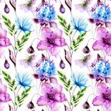 Blumen-seamles Muster lizenzfreie abbildung
