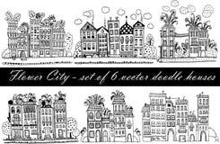 Blumen-Stadt - ein Satz von 6 Illustrationen mit lustigen Fantasiehäusern in der Gekritzelart Lizenzfreies Stockfoto