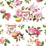 Blumen, Teeschale, Kuchen, Makronen, Topf watercolor Nahtloser Hintergrund Stockfotos