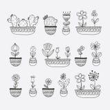 Blumen in Topf-Hand gezeichneter Vektor-Illustration Stockfotografie