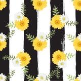 Blumen-tropischer nahtloser Muster-Aquarell-Malstil auf b Stockfotos