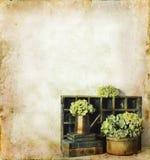 Blumen und Bücher auf einem Grunge Hintergrund Lizenzfreies Stockfoto