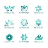 Blumen- und Blattlogo vector Bühnenbild für Schönheitsbadekurortsalon oder -hotel Lizenzfreie Stockfotos