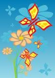 Blumen und butterflyes lizenzfreie abbildung