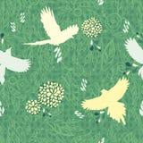 Blumen- und des Vogels nahtloser Hintergrund. Lizenzfreies Stockbild
