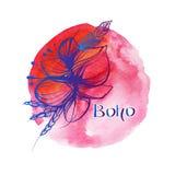 Blumen und Federn in boho Art auf Aquarellhintergrund Lizenzfreies Stockfoto