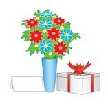 Blumen und Geschenk Stockfotografie