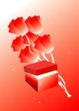 Blumen und Geschenkkasten Stockfoto