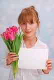 Blumen und Grüße für Sie Lizenzfreie Stockbilder