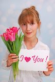 Blumen und Grußkarte für Sie Stockbild