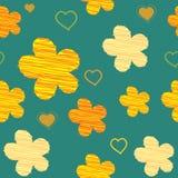 Blumen und Herz-nahtloses Muster lizenzfreie abbildung