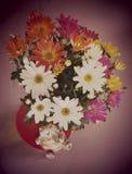 Blumen und Katze, Stillleben Stockbild