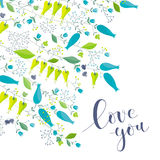 Blumen- und Krautvektorgrußkarte Lizenzfreies Stockfoto