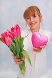 Blumen und mein Herz für Sie Stockbilder