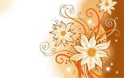 Blumen und mit Filigran geschmückte Zweige vektor abbildung