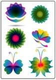 Blumen-und Schmetterlings-Logo vektor abbildung