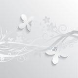 Blumen- und Schmetterlingshintergrund stock abbildung