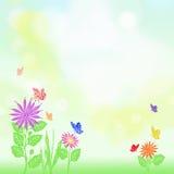 Blumen- und Schmetterlingshintergrund Lizenzfreies Stockbild