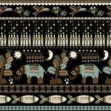 Blumen- und tierisches nahtloses Muster in Paisley-Art Dekorativer indischer Hintergrund Stockfotografie