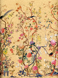 Blumen-und Vogel-Kunst-Tapete Stockfoto