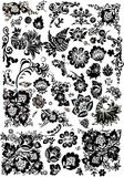 Blumen- und Vogelverzierungelemente Lizenzfreie Stockfotografie