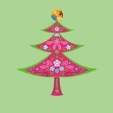 Blumen- und Weihnachtsbaum Stockfotografie