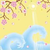 Blumen und Wellenfrühlingshintergrund Stockbild