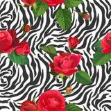 Blumen und Zebra-Haut-nahtloses Muster Tiergewebe-Hintergrund mit Florenelement-Mode-Druck-Entwurf für Tapete vektor abbildung