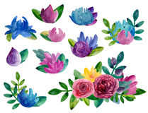 Blumen-Vektor clipart des Aquarells abstraktes Lizenzfreie Stockfotos
