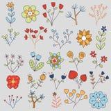 20 Blumen-Vektor-Gekritzel-Illustrations-Satz Lizenzfreie Stockbilder