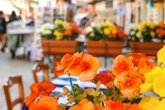 Blumen verzieren das Café im Freien auf dem Markt in Venedig Lizenzfreies Stockfoto