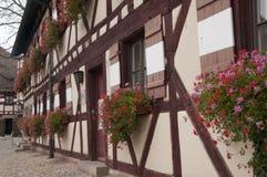 Blumen verzieren Fenster am Schloss Stockbild
