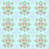 Blumen verzieren im Weinlesefarbnahtlosen Muster vektor abbildung