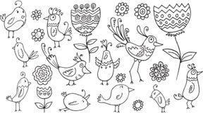 Blumen-Vogel-Gekritzel-Satz Lizenzfreies Stockbild