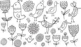 Blumen-Vogel-Gekritzel-Satz Stockfotografie