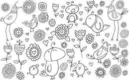 Blumen-Vogel-Gekritzel-Satz Lizenzfreies Stockfoto