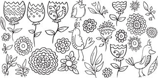 Blumen-Vogel-Gekritzel-Vektor Stockfoto