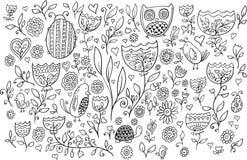 Blumen-Vogel-Gekritzel-Vektor-Satz Lizenzfreies Stockfoto