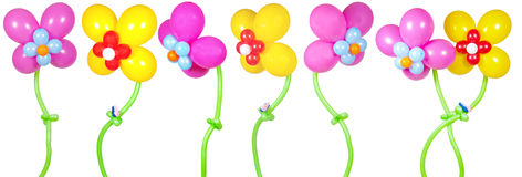 Blumen von den Ballonen Stockfoto