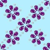 Blumen von den Edelsteinen Nahtloses Muster schmucksachen Blauer hellfarbiger Hintergrund lizenzfreie abbildung