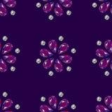 Blumen von den Edelsteinen Nahtloses Muster schmucksachen Purpurroter Hintergrund lizenzfreie abbildung
