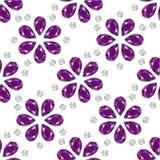 Blumen von den Edelsteinen Nahtloses Muster schmucksachen Weißer Hintergrund lizenzfreie abbildung