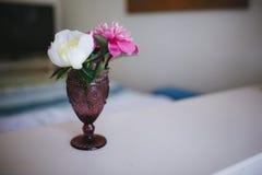 Blumen von Pfingstrosen in einem Vase im Innenraum lizenzfreie stockfotografie